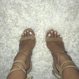 Suede Tie Up Heels